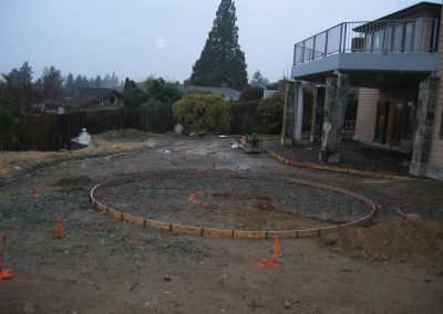 Before: this garden under construction in this photo  was flat and featureless