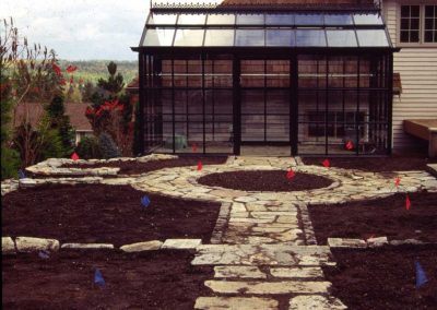During construction, the geometry and the bare bones of the garden are laid bare