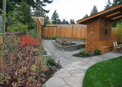 Raised beds provide space for vegetable gardening