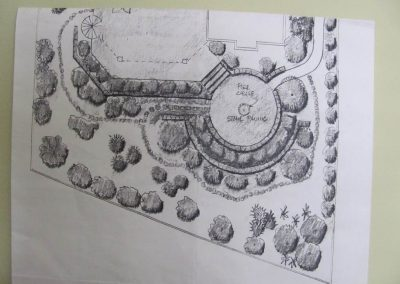 Plan for the Bellevue garden with circular patio